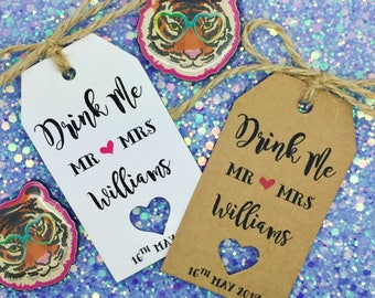 Drink Me, Alice In Wonderland Favour Gift Tags, Wedding Favour, Bridal Shower