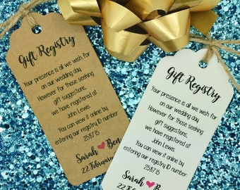 Wedding Gift Registry, Wishing well Card, Money Request Poem Card, Personalised Gift Tag