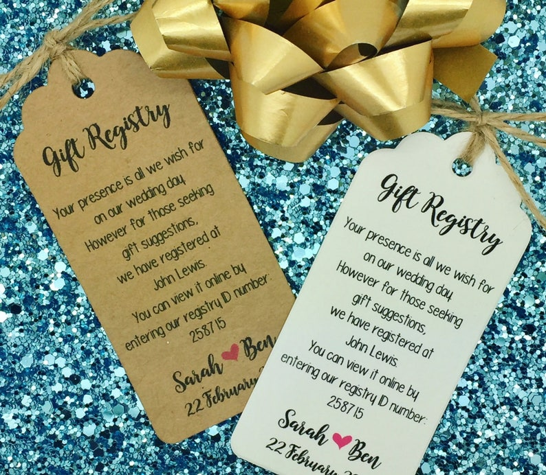 Etsy Wedding Registry.Wedding Gift Registry Wishing Well Card Money Request Poem Card Personalised Gift Tag