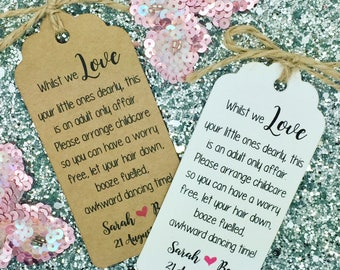 Wedding No Kids / Kids Free Request Poem Card Favour Gift Tag, Personalised