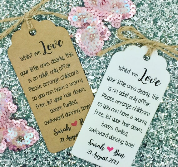 Wedding No Kids / Kids Free Request Poem Card Favour Gift