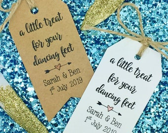 Flip Flops / Dancing Shoes Gift Tag Wedding Favour, A Little Treat For Your Dancing Feet