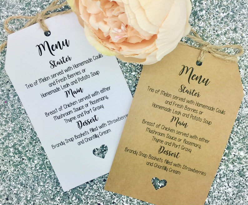 Tag Favour Guest Label Kraft// Napkin Ring Personalised Wedding MENU Card