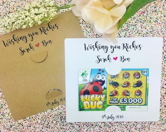 Scratch Card Holders, Lottery Ticket Holder, Wedding Party Favours, Gifts, Wishing You Riches