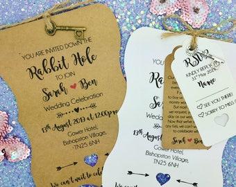 Rustic Alice in Wonderland Wedding Invitation Bundle, Rustic Wedding Invitation
