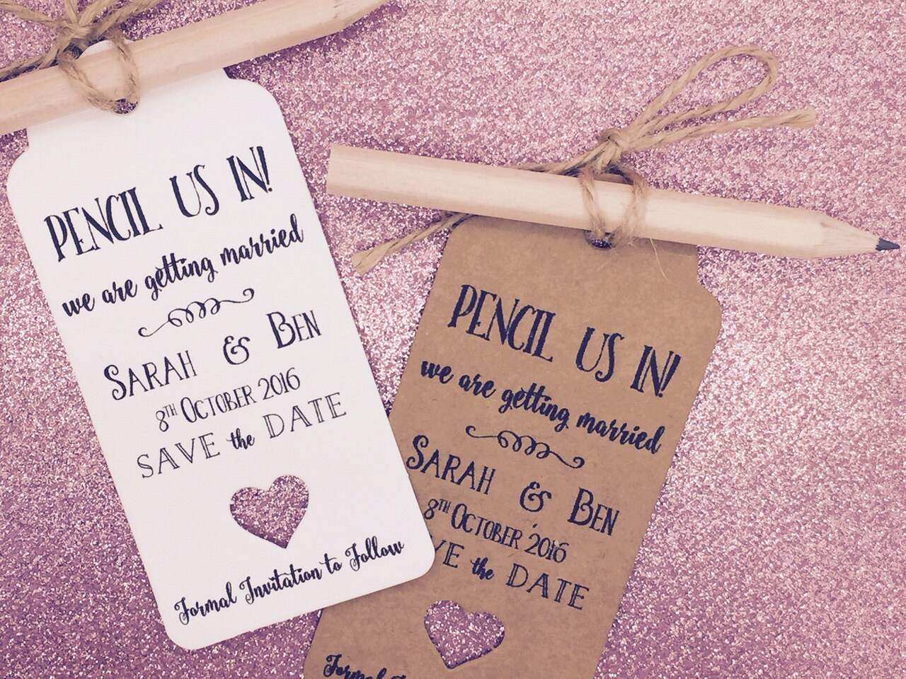 Pencil us in Save The Date Card / Tags Wedding Invitation with | Etsy