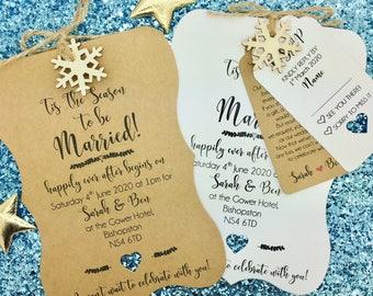 Rustic Winter Wedding Invitation Bundle, Shabby Chic, Rustic, Snowflake