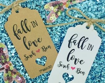 Fall in Love, Autumn Wedding Favour Gift Tags, Rustic Label Kraft, Candy, Sweetie Tags