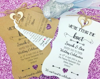 Tying The Knot Rustic Wedding Invitation, Vintage Wedding Invitation Bundle