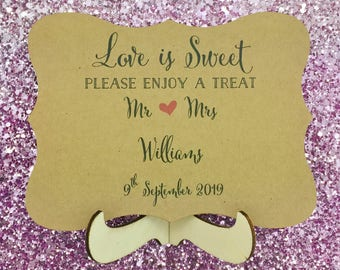 Love is Sweet Sign, Take a Treat Sign, Dessert Table Sign, Wedding Refreshment Sign
