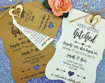Getting Hitched Rustic Wedding Invitation, Vintage Wedding Invitation Bundle