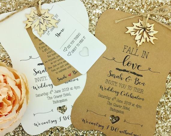 Herbst Hochzeit Einladung Rustikale Herbst Etsy