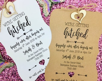 Getting Hitched, Rustic Wedding Invitation, Vintage Wedding Invitation, We Do