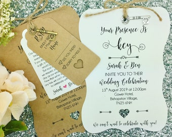 Rustic Wedding Invitation With a Key, Vintage Wedding Invitation, We Do