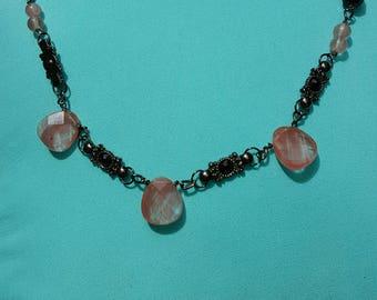"Cherry ""Quartz"" Glass and Gunmetal Necklace"