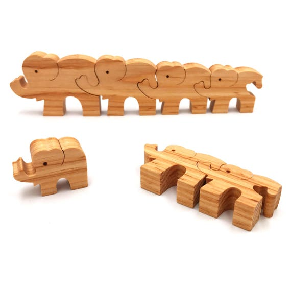 Puzzle Elephants - Educational Toy for Kids - Puzzle Montessori Toy - Wooden Puzzle Toy for Kids - Toddler Christmas Gift