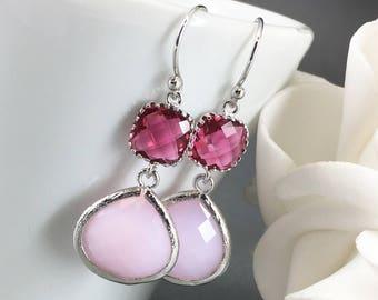 Fuchsia Earrings Bridesmaid Earrings Hot Pink Earrings Bridesmaid Gift Mother of Groom Gift Mother of Bride Gift for Her Fuchsia Wedding