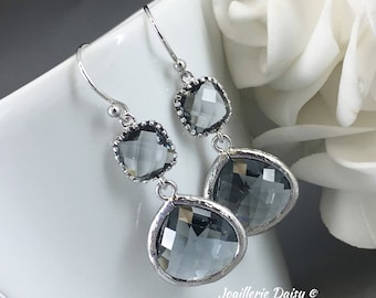 Charcoal Earrings Gray Earrings Bridesmaid Gift Maid of Honor Jewelry Mother of Groom Gift Mother of Bride Gift for Her Charcoal Wedding