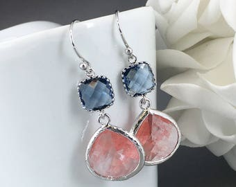 Coral Earrings Bridesmaid Earrings Coral and Navy Maid of Honor Gift Mother of Groom Gift Mother of Bride Gift for Her Coral Wedding