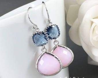 Pink Earrings Bridesmaid Earrings Pink and Navy Maid of Honor Jewelry Mother of Groom Gift Mother of Bride Gift for Her Blush Wedding