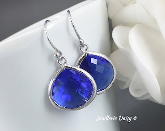 Bridesmaid Gift Royal Blue Earrings Cobalt Blue Sapphire Capri Maid of Honor Gift Mother of Groom Gift Mother of Bride Gift for Her Wedding
