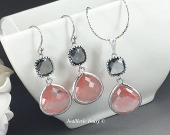 Bridesmaid Gift Coral and Grey Jewelry Silver Necklace and Earrings Maid of Honor Gift Mother of Groom Gift Mother of Bride Coral Wedding