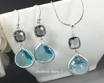 Bridesmaid Gift Bridesmaid Jewelry Aqua Jewelry Blue Necklace Destination Wedding Maid of Honor Mother of Groom Gift Mother of Bride Jewelry
