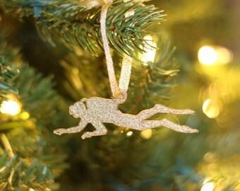 Scuba Diver Ornament - Christmas Ornament - Scuba Gear - Snorkeling - Water Lover Ornament - Diver Christmas Ornament - Silver - Gold