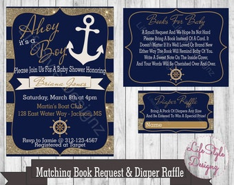 Nautical baby shower invitation etsy nautical baby shower invitation ahoy its a boy anchor blue gold shower invite its a boy printable book request filmwisefo