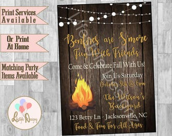 Bonfire Invitation Backyard Bonfire Invitation Bonfire Etsy