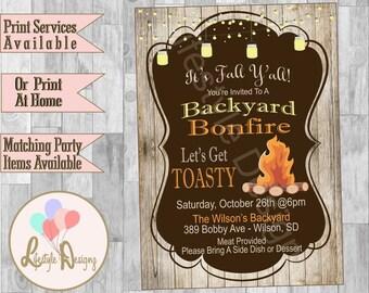 Bonfire Birthday Party Invitation Bonfire Party Backyard Etsy