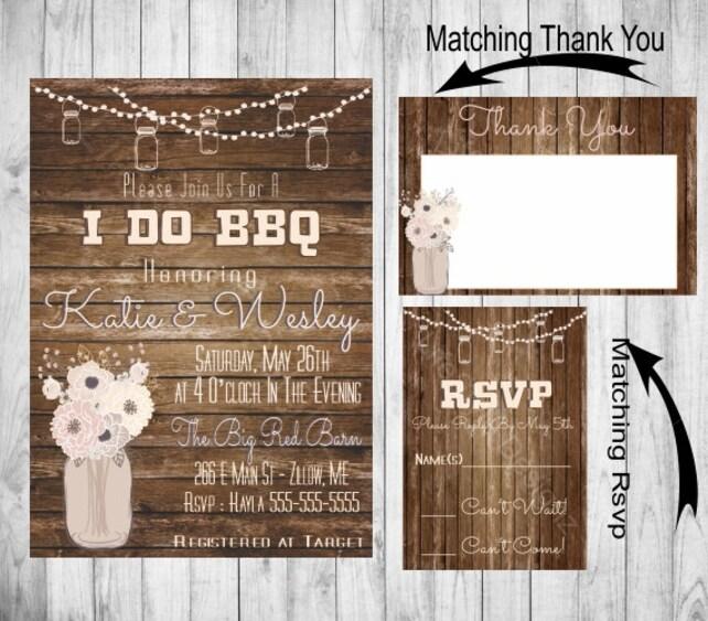 4b111d2c246 I DO BBQ - Engagement Party Invitation - Rustic Invite - Mason Jars - Barbecue  Shower - Printable Invitation-RSVP - Thank You