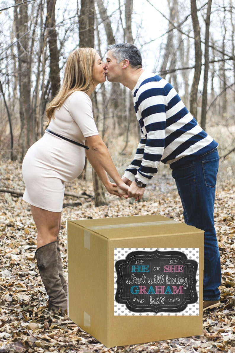 Little He Or Little She Gender Reveal Printable Baby Reveal Balloon Box Sign-What will Baby Be Gender Reveal Party Decor-Baby Shower