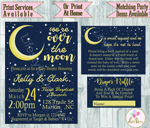 Over the moon baby shower invitation moon and stars baby etsy image 0 filmwisefo
