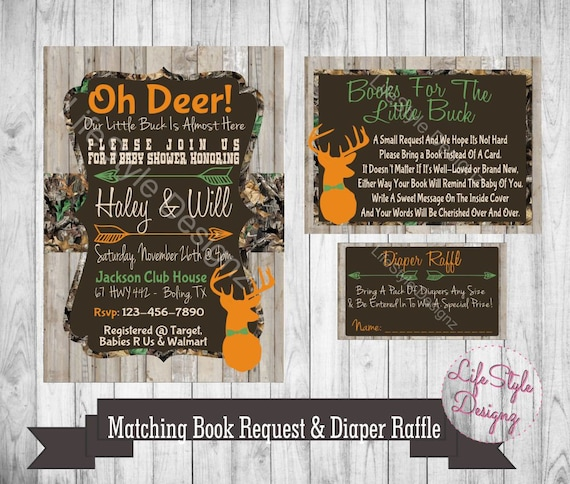 Camo baby shower invitation oh deer baby buck on the way etsy image 0 filmwisefo