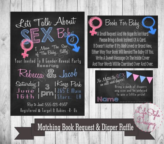 Gender Reveal Invitation Lets Talk About Sex Baby Pink Or Etsy