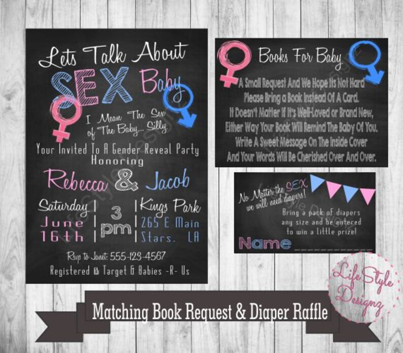 c4292ee7cb18e Gender Reveal Invitation Lets Talk About Sex Baby Pink or | Etsy