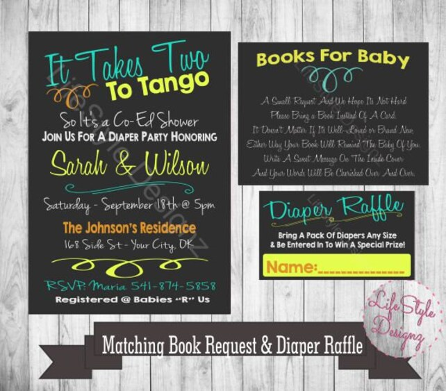 It Takes 2 To Tango Baby Shower Invitation Fun Invite Couples Baby