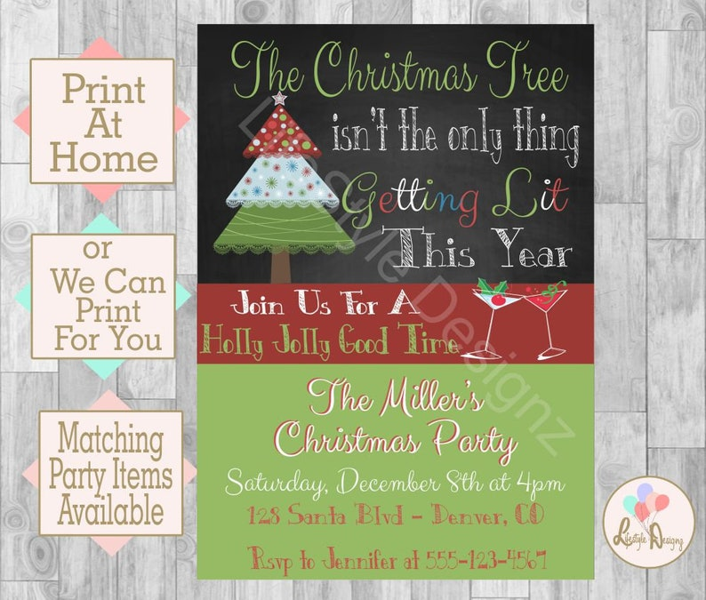Christmas Party Invitation Lets Get Lit Cocktail Party Etsy