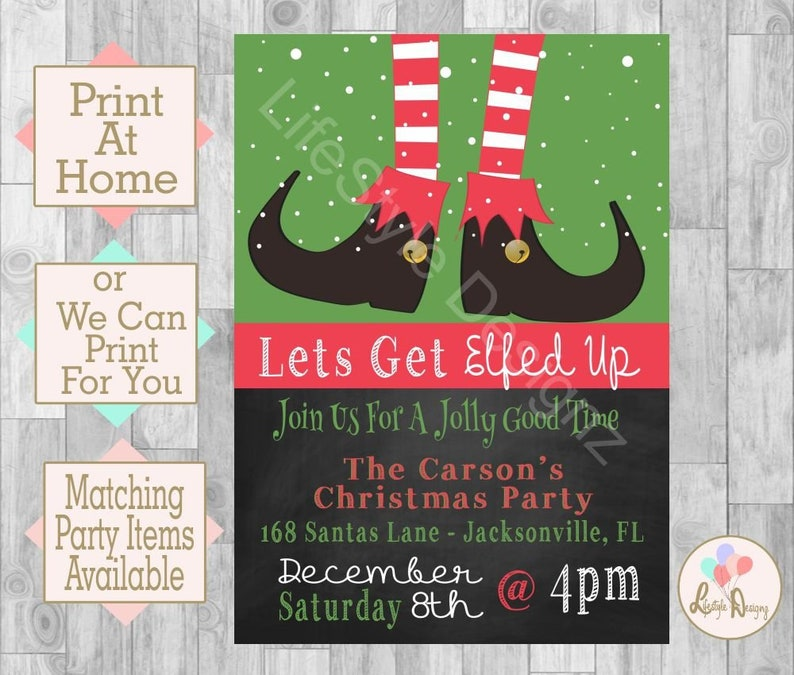 Elfed Up Christmas Party Invitation Holiday Cocktail Party Etsy