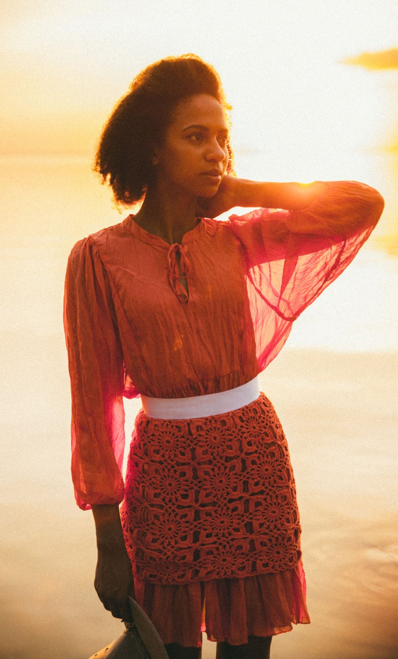 2ecaa496db7 Кnitted crochet red skirt coral dress. Summer women s