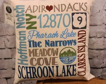 "Schroon Lake NY 17"" Pillow"