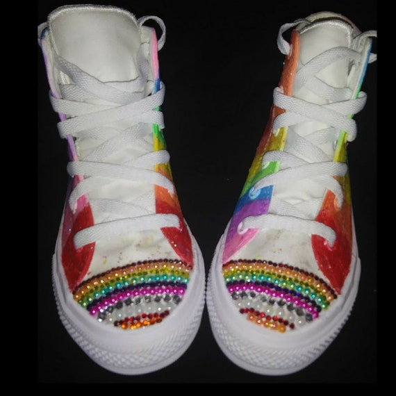 Custom Rainbow Converse Shoes, Pride Converse, LGBT,Gay Pride, Bling Converse,Rainbow Sneakers,Hand Painted,Tie dye Shoes,Chuck Taylors