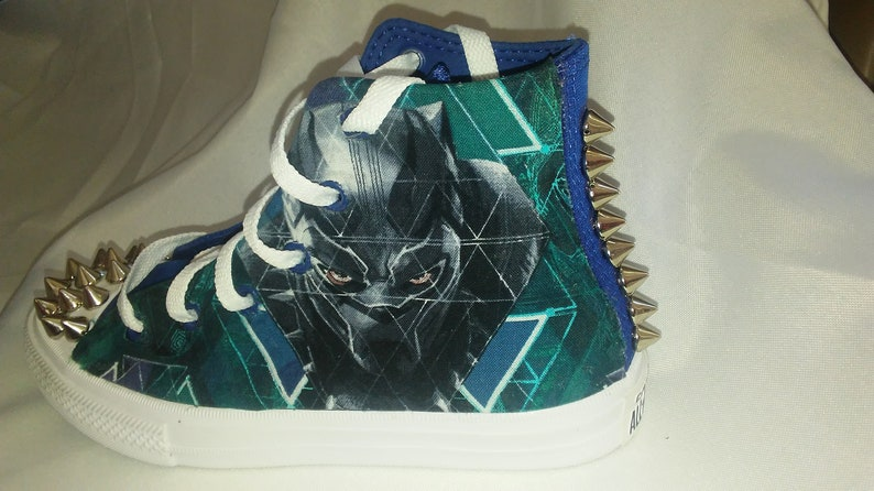 new product 7647e 08815 Custom Black Panther Converse Shoesfor kids-Marvel with   Etsy