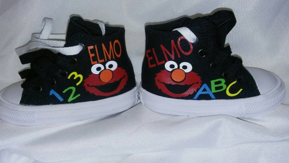 d39122ba5a23 Custom Elmo Sesame Street ABC and 123 Converse shoes and