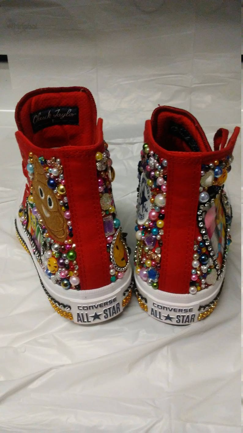 Custom Emoji Converse Shoes, Emoji Birthday,Bling,Hand Decorated,Emoji  Designs like Cool, Happy, Kiss, LOL, Love,Emoji Party, Chuck Taylor's