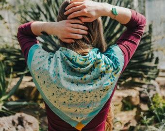 Silk scarf, Silk neckerchief, Silk bandana, Silk turban, Foulard, Green scarf, Summer scarf, Turban, Colourful scarf, Colourful bandana