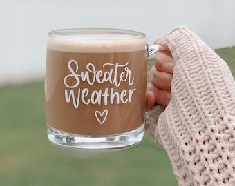 Glass Mug, Seasonal Mug, Mugs, Winter Mug, Holiday Mug, Sweater Weather Mug, Mugs with Saying, Coffee Mug, Clear Mug