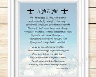 graphic regarding High Flight Poem Printable called Flight artwork quotation Etsy