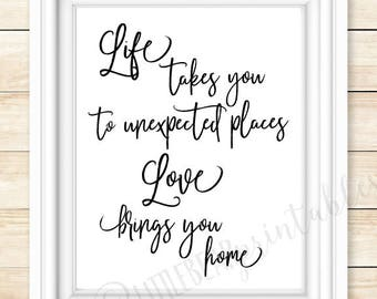 Love Brings Us Home Family Wall Decals Vinyl Lettering Art Wall